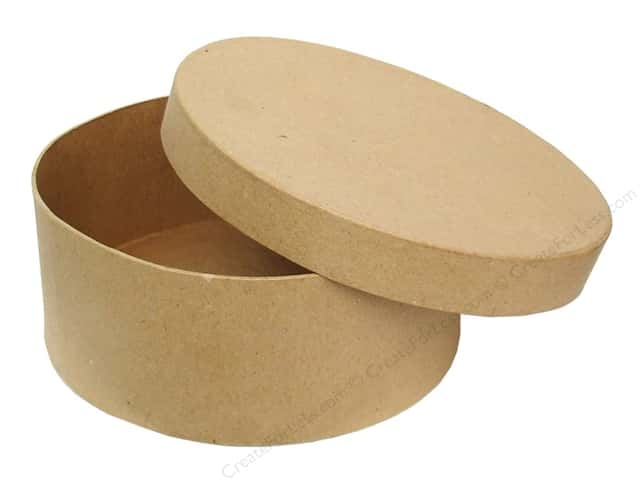 Paper mache round box 7 1 2 in by craft pedlars for Craft paper mache boxes