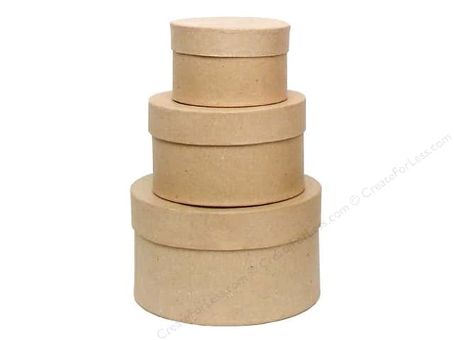 Paper Mache Small Round Box Set of 3 by Craft Pedlars (12 sets)