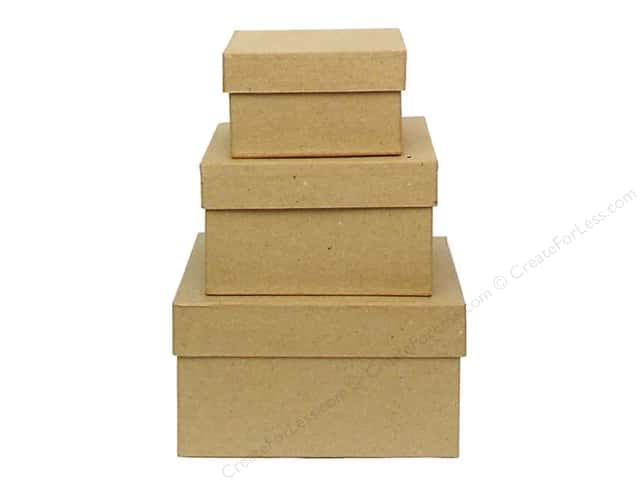 Paper Mache Small Square Box Set of 3 by Craft Pedlars (12 sets)
