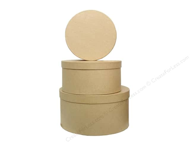 Paper Mache Large Round Box Set of 3 by Craft Pedlars (6 sets)