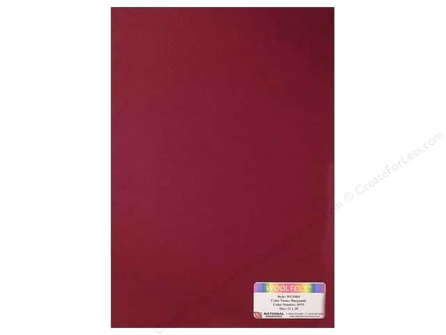 "National Nonwovens WoolFelt 12""x 18"" 20% Burgundy (12 sheets)"