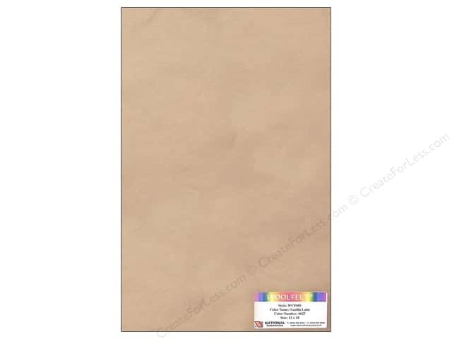 "National Nonwovens WoolFelt 12""x 18"" 20% Vanilla Latte (12 sheets)"