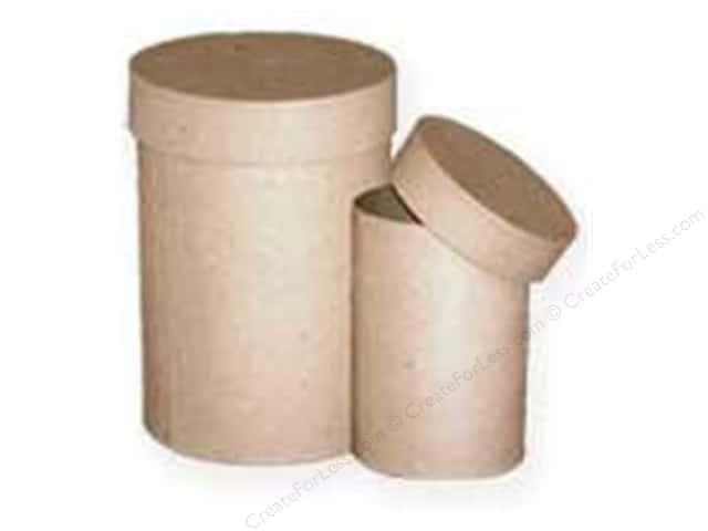 Paper Mache Round Box Tall Small Set of 2 by Craft Pedlars (8 sets)