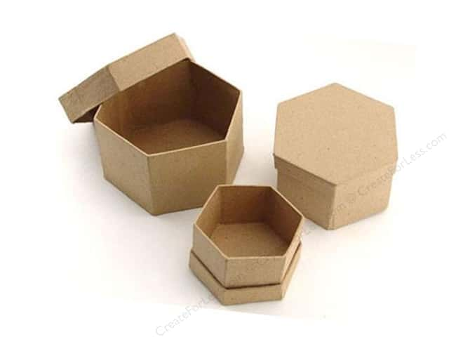 Paper Mache Hexagon Box Set of 3 by Craft Pedlars (12 sets)