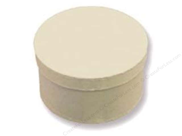 Paper Mache Round Box 4 1/2 in. Vanilla by Craft Pedlars (24 pieces)