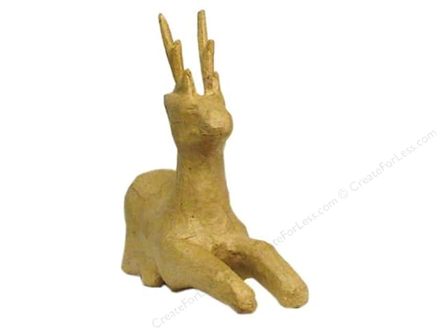 Paper Mache Mini Sitting Deer by Craft Pedlars (36 pieces)