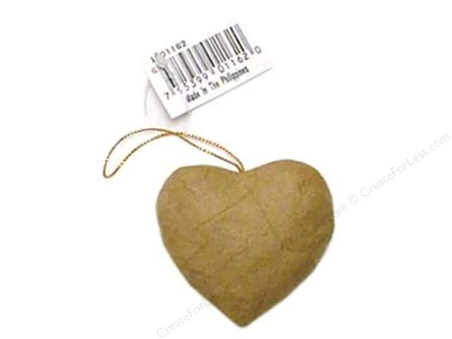 Paper Mache Puffy Heart Ornament by Craft Pedlars (3 pieces)