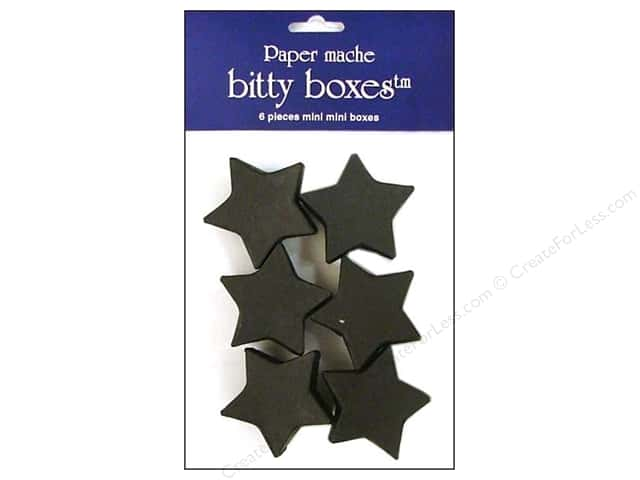 Paper Mache Box Bitty Star Black 6pc by Craft Pedlars