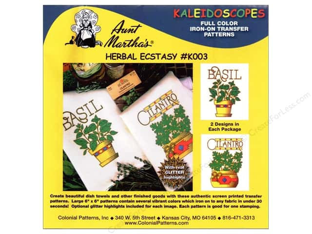 Aunt Martha's Kaleidoscopes Full Color Iron-on Transfer Herbal Ecstasy