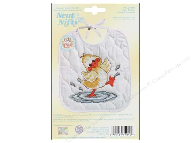 Janlynn Cross Stitch Kit Just Ducky Bib