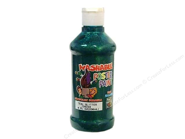 Palmer Poster Paint Washable 8oz Teal Glitter
