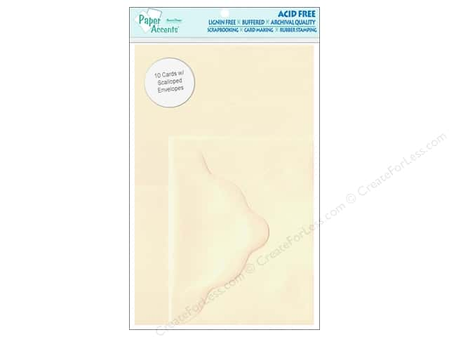 4 1/4 x 5 1/2 in. Card & Envelopes by Paper Accents 10pc. Scalloped Cream