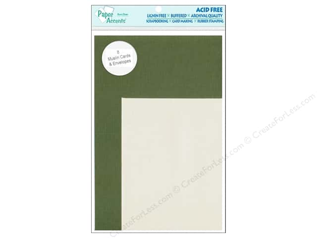 4 1/4 x 5 1/2 in. Blank Card & Envelopes  by Paper Accents 8pc. Muslin Rain Forest/Cream