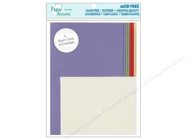 "Paper Accents Card & Envelope 4.25""x 5.5"" Muslin Primary 8pc"