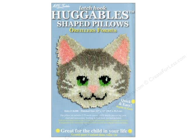 "M.C.G Textiles Latch Hook Kit Huggables Pillow 12""x 12"" Kitty"