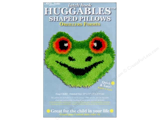 "M.C.G Textiles Latch Hook Kit Huggables Pillow 13""x 11"" Frog"