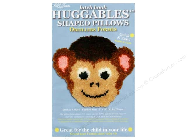 "M.C.G Textiles Latch Hook Kit Huggables Pillow 12""x 11"" Monkey"