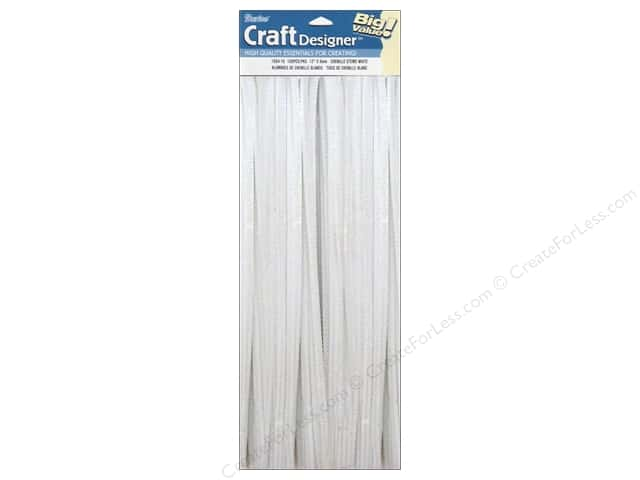 "Darice Chenille Stems 6mm 12"" White 100pc"