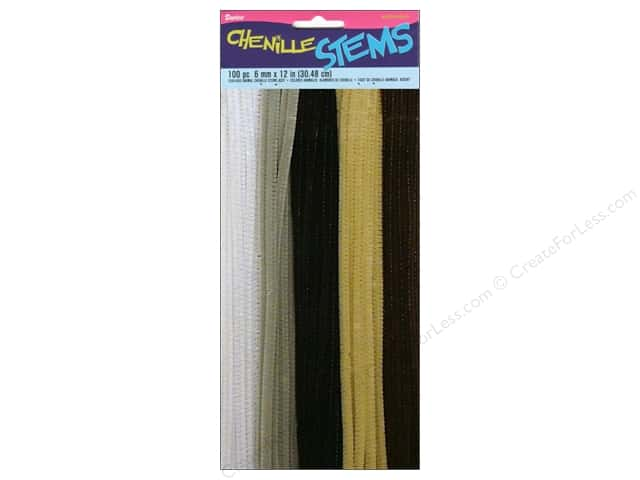 "Darice Chenille Stems 6mm 12"" Animal Assorted 100pc"