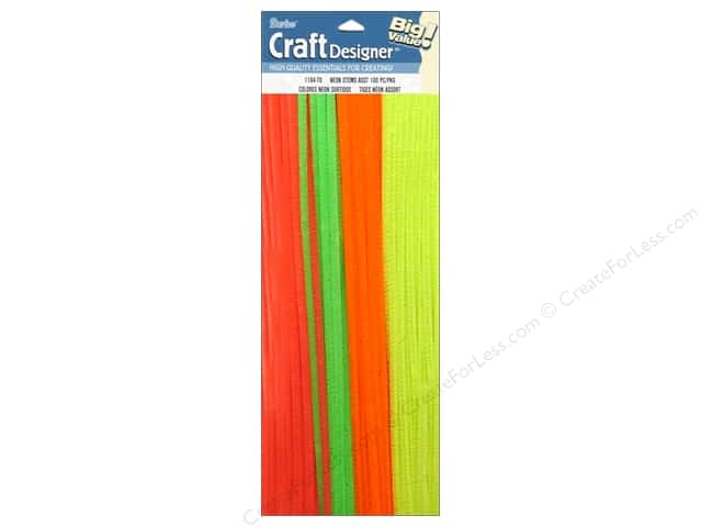 "Darice Chenille Stems 6mm 12"" Neon Assorted 100pc"