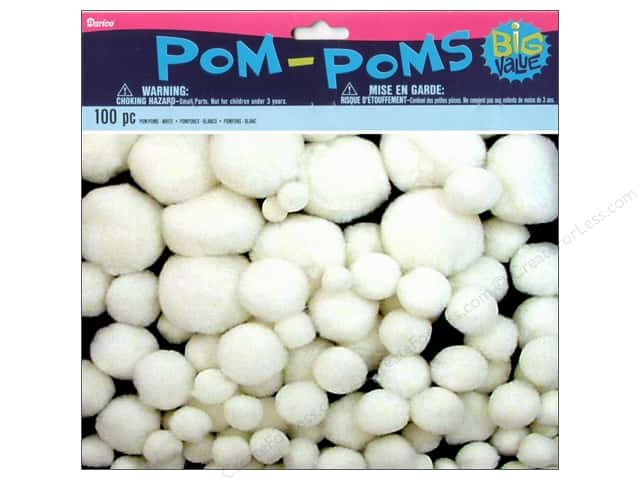 Darice Pom Poms Assorted Size White 100 pc.