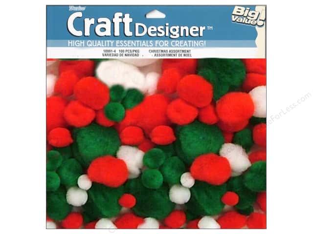 Pom Poms by Darice Christmas White/Green/Red Assorted 100pc.