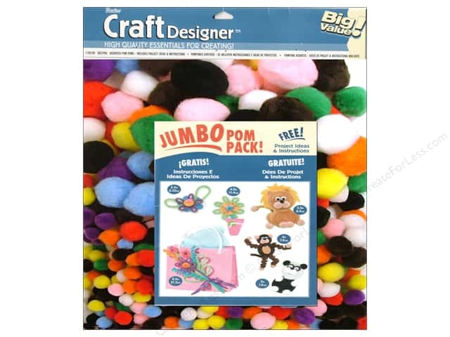 Darice Pom Poms Jumbo Pack Multi Assorted 8oz