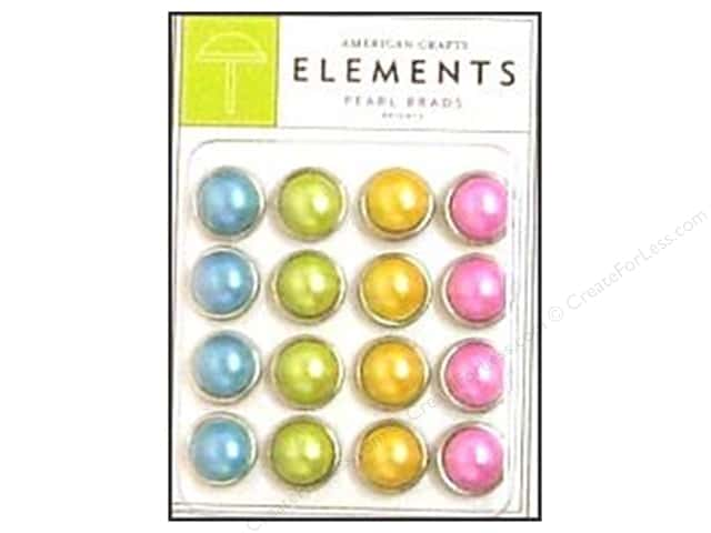 American Crafts Elements 11 mm Brads Large Pearl 16 pc. Brights