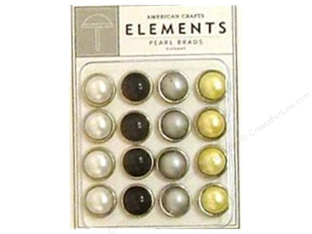 American Crafts Elements Brads Large Pearl Elegant 16pc