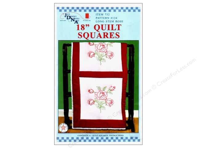 "Jack Dempsey Quilt Block 18"" 6pc White Roses"