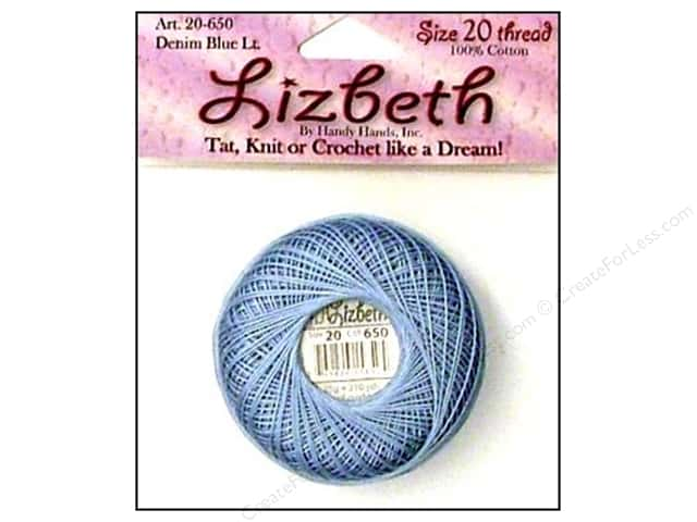 Lizbeth Thread Size 20  #650 Denim Blue Light