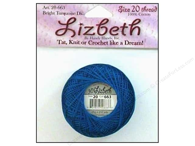 Handy Hands Lizbeth Tat Thread Size 20 Bright Turquoise Dark