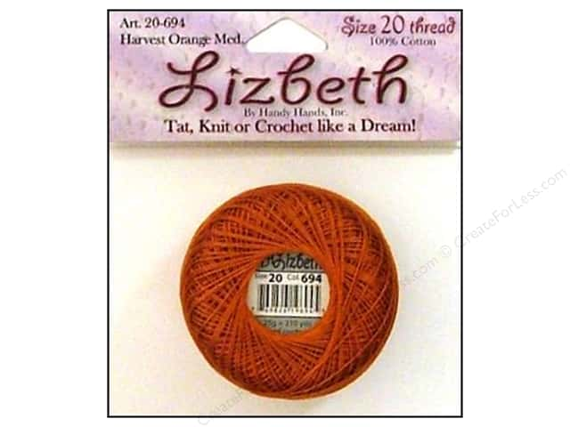 Handy Hands Lizbeth Tat Thread Size 20 Harvest Orange Medium