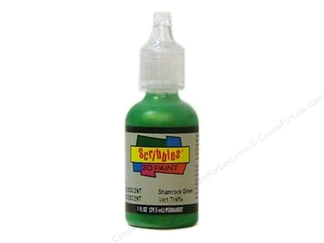 Scribbles 3D Fabric Paint 1 oz. Iridescent Shamrock Green