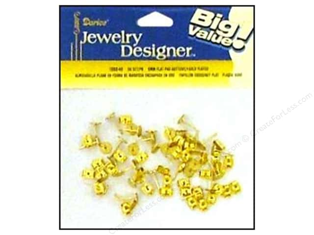 Darice Jewelry Designer Earring Post 6mm Flat & Nut Gold 36pc