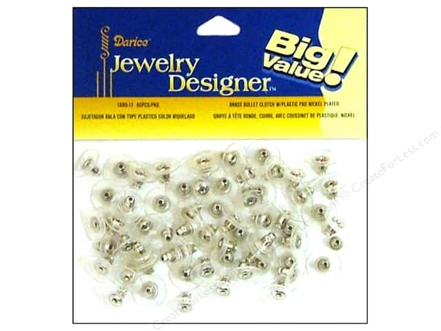 Darice Jewelry Designer Earring Bullet Clutch w/Pad Nickel 60pc