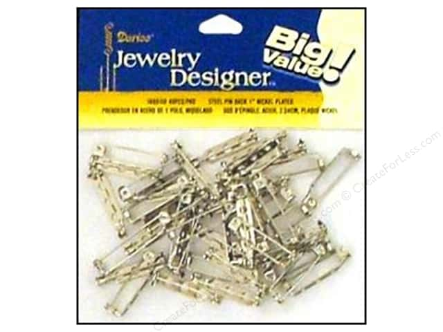"Darice Jewelry Designer Pin Back 1"" Nickel 48pc"