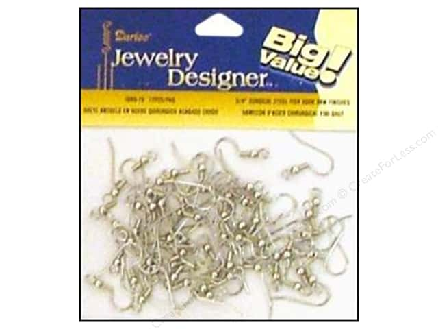 "Darice Jewelry Designer Earring Fish Hook 3/4"" Surgical Steel 72pc"