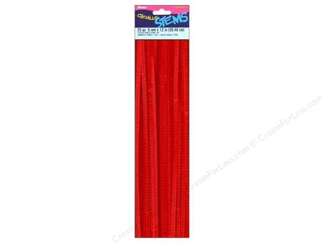 Chenille Stems by Darice 6 mm x 12 in. Red 25 pc. (3 packages)