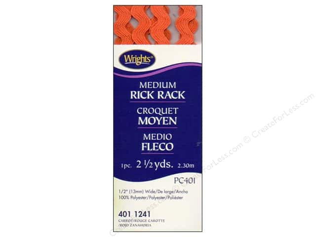 Wrights Rick Rack Medium Carrot 2 1/2 yd.