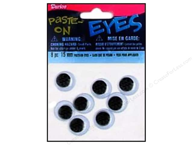 Googly Eyes by Darice Paste-On 15 mm Black 8 pc. (3 packages)