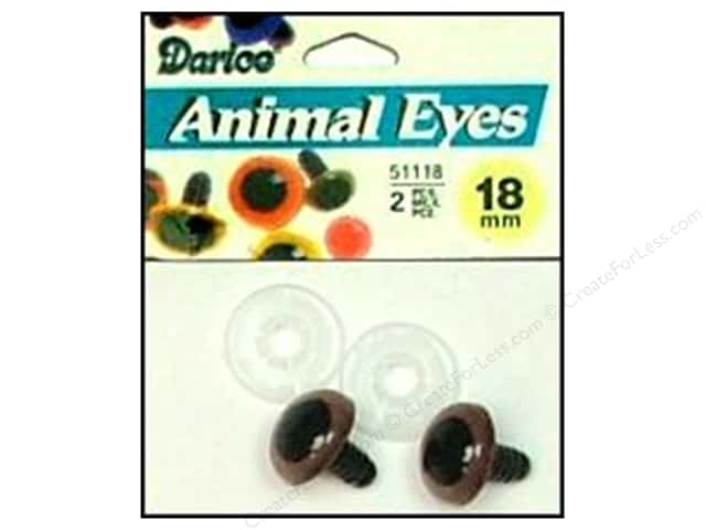 Darice Eyes Animal 18mm with Washer Brown 2pc