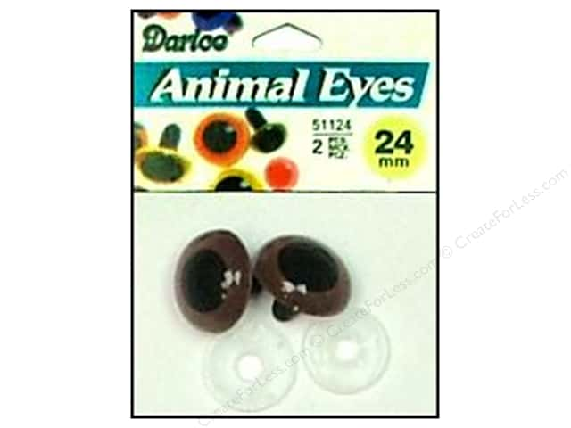 Darice Eyes Animal 24mm with Washer Brown 2pc