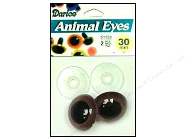 Darice Eyes Animal 30mm with Washer Brown 2pc
