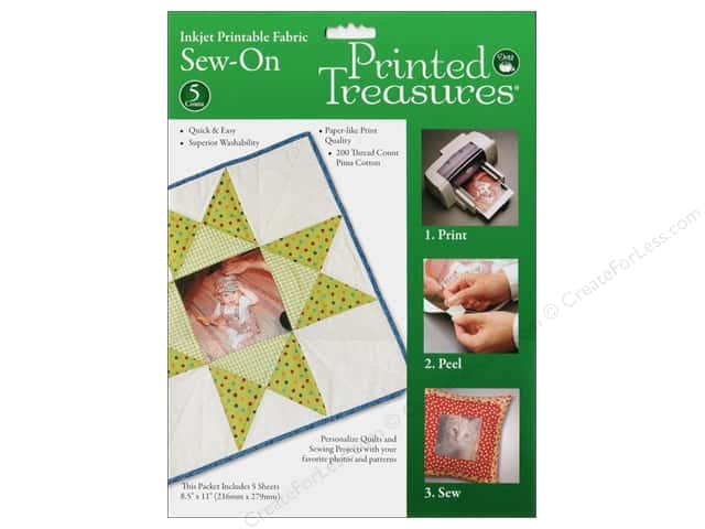 Dritz Printed Treasures Fabric Original Sew On 5pc