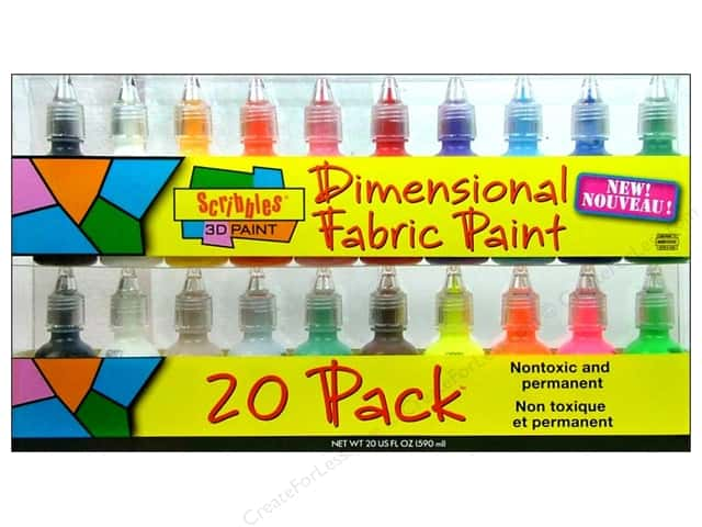 Scribbles Dimensional Fabric Paint Set 20pc