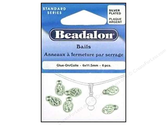 Beadalon Glue On Bail 6 x 11 mm Silver Plated 6 pc.