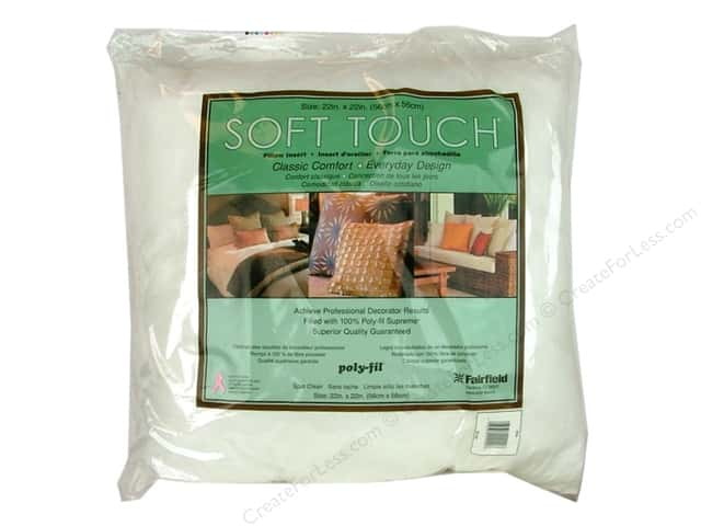 "Fairfield Pillow Form Soft Touch Poly Fill Supreme 22"" Square"