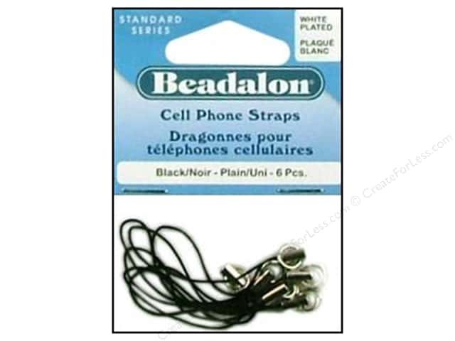 Beadalon Cell Phone Strap Plain White Plated 6 pc.