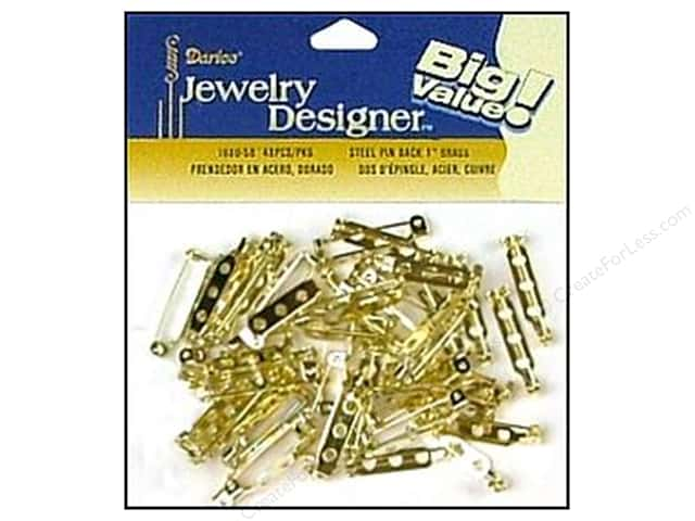 "Darice Jewelry Designer Pin Back 1"" Brass Plate Steel 40pc"